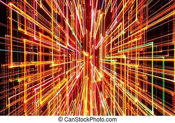 Burst of Dark Glowing Lines on Dark Background - A burst of...