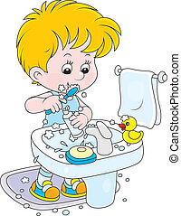 Child brushing his teeth - Little boy cleaning his teeth in...