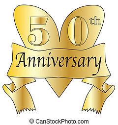 50th Anniversary Heart - 50th anniversary heart in gold with...
