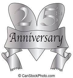25th Anniversary Heart - 25th anniversary icon in silver...