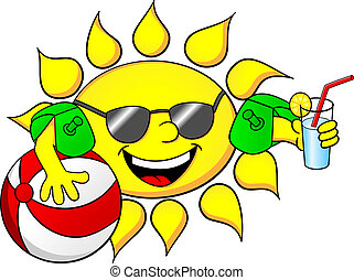 sun on summer vacation - vector illustration of the sun on...