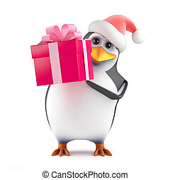 3d Xmas penguin has a gift - 3d render of a penguin wearing...