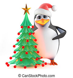 3d Xmas penguin Christmas tree - 3d render of a penguin...