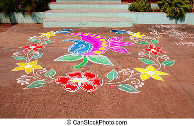 Multicoloured Traditional Rangoli Indian House - Traditional...