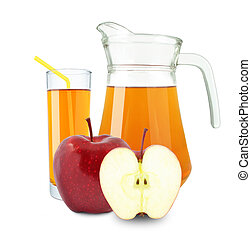 apple juice in glass and jug on a white background