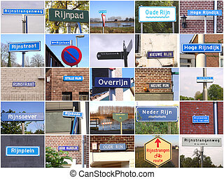 Signs referring to river Rhine - Collage of various signs...