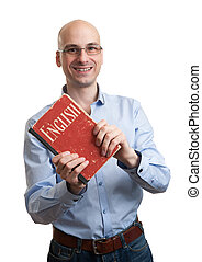 learning english. - learning english concept. man holding a...