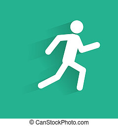 Running man icon silhouette with shadow Vector Illustration