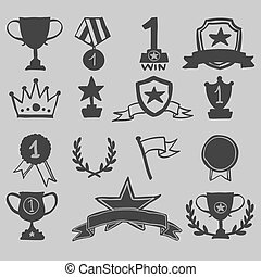 Trophy and awards icons hand draw, vector illustration.