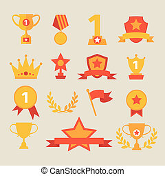 Trophy and awards icons set. vector illustration.