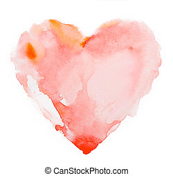Watercolour heart isolated on white background - Watercolour...