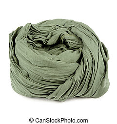 Folded Green Neck Scarf Isolated on White Background - A...