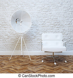White Brick Wall Office Inteior Leather Armchair And...