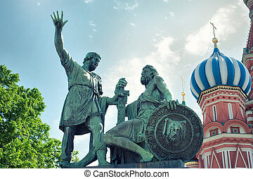 Monument to Minin and Pozharsky on Red Square. Moscow,...