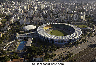 Aerial view of the Estadio do Maracana or Maracana Stadium...