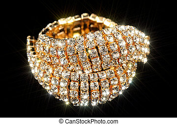 Gold Bracelet with Cubic Zirconia (CZ) on Black Background -...