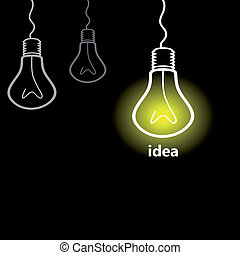 Idea a bulb - The collection of bulbs means idea
