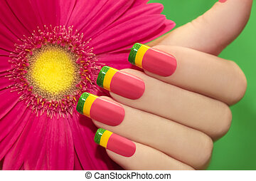 Colored nail Polish - Colored nail Polish on female hand...