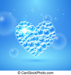 Shiny Heart of Bubbles - Shiny heart of transparent bubbles...