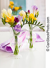 Freesia - bunch of colorful freesia flowers