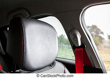 Headrest in a sport car