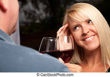 Blonde Socializing with Wine Glass - Wine Drinking Blonde...