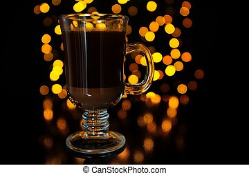 Layered Coffee Cocktail Against Dark Glowing Background