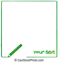 Greeen pencil background - Vector white background with...