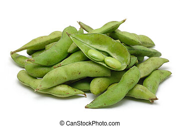Stack of edamame green soybean in isolated white background...