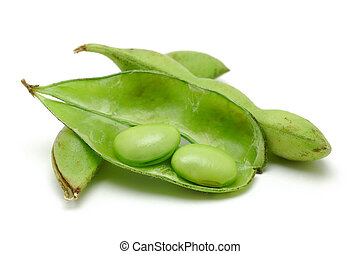 Close up of edamame (green soybean) on isolated white