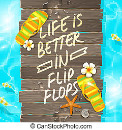 Summer vacation vector design - Wooden gangway with...