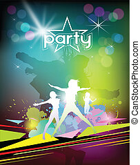 Silhouette woman colorful party