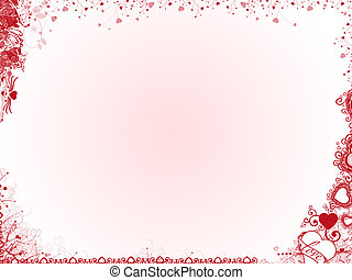 Valentine Background with red and pink hearts.