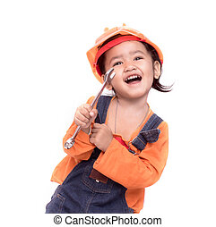 Asian Engineer baby girl and wrench in hand - Smile Asian...