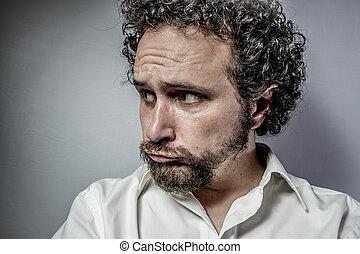 triste, rosto, homem, intenso, expressão, branca,...