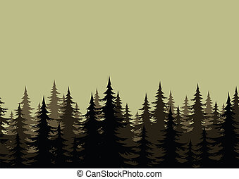 Seamless landscape, forest, silhouettes - Seamless...
