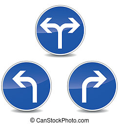 Vector turning signs - Vector illustration of turning blue...