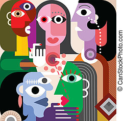 Large Family Abstract art vector illustration