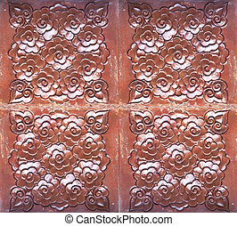 Wood carving - Background texture wall weathered old wood...