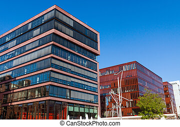 Buildings in the Hafencity, Hamburg - Modern buildings seen...