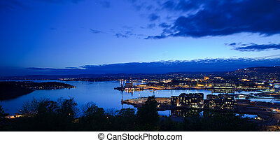 Oslo from the east side of Oslofjord, nighttime