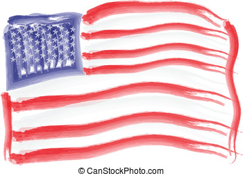 US Flag Independence Day - US flag painted with watercolors...