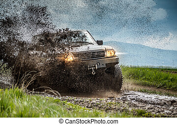 Off road - Jeep off road in muddy conditions