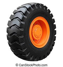 Orange tractor wheel