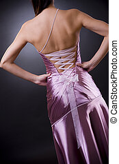 Back of evening dress - Back side of a light purple laced...