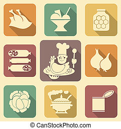 Food Icons 2 - Soviet food retro icons with long shadows set