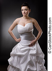 Bride in wedding dress - Bride posing in a white wedding...