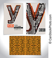 Ancient Business card design LETTER Y