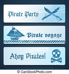 Nautical banners with pirate symbols