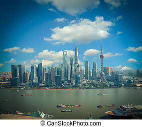 Aerial photography Shanghai skyline